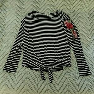 Black and White Stripe Long Sleeve Tee with Roses